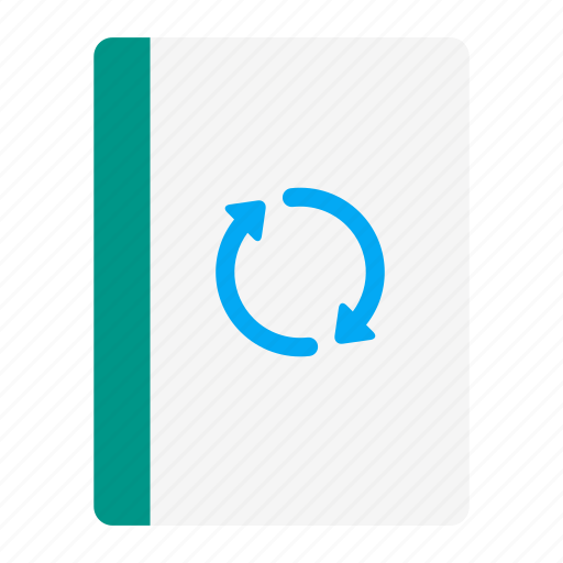 action, arrow, book, notebook, read, sync, update icon