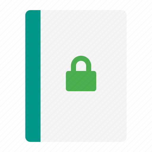 action, book, lock, notebook, protect, read, secure icon