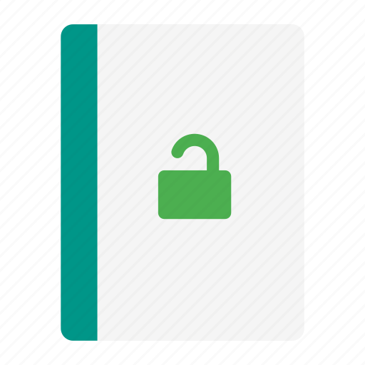 action, book, notebook, protect, read, secure, unlock icon