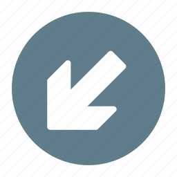 arrow, bottom, direction, down, left, move icon
