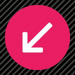 arrow, bottom, direction, down, left, move icon