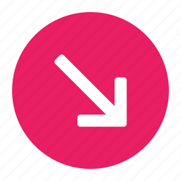 arrow, bottom, direction, down, move, right icon