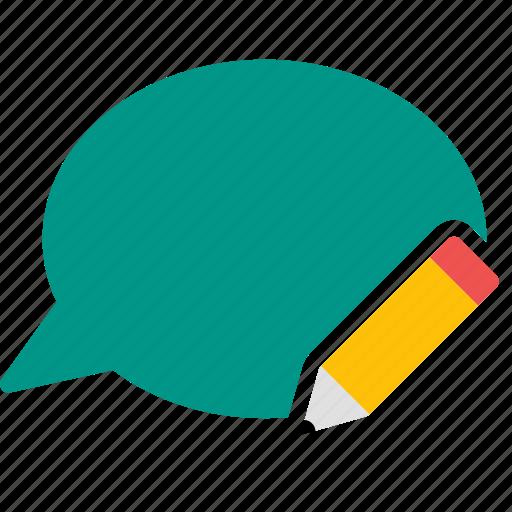 bubble, chat, conversation, edit, message, pencil, write icon