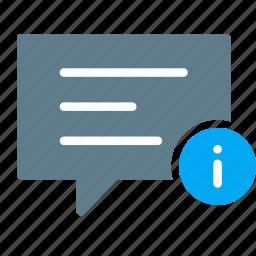 bubble, chat, conversation, detail, infomation, message, talk icon