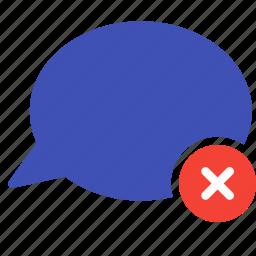 bubble, chat, conversation, delete, message, remove, talk icon
