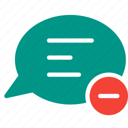 bubble, chat, conversation, message, remove, subtract, talk icon