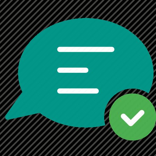 bubble, chat, checkmark, conversation, message, talk icon