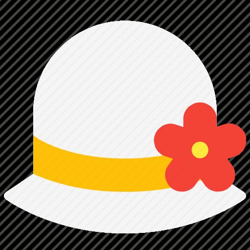 clothes, fashion, flower, garment, hat, women icon