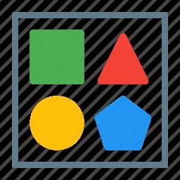 content, editor, hexagon, pentagon, shape, square, triangle icon