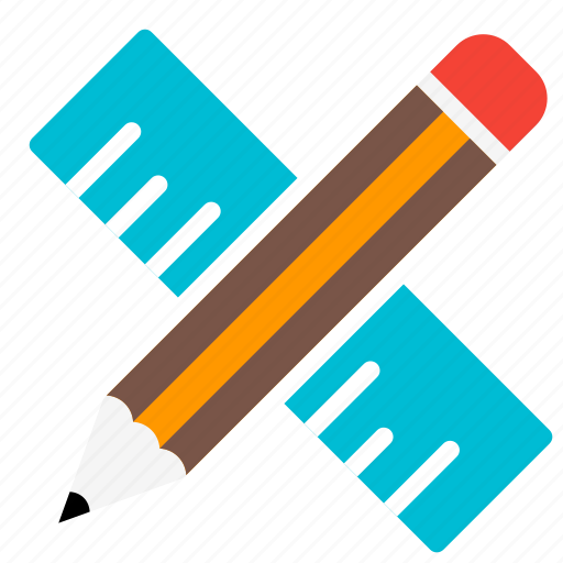 education, learn, pen, pencil, ruler, school, supplies icon