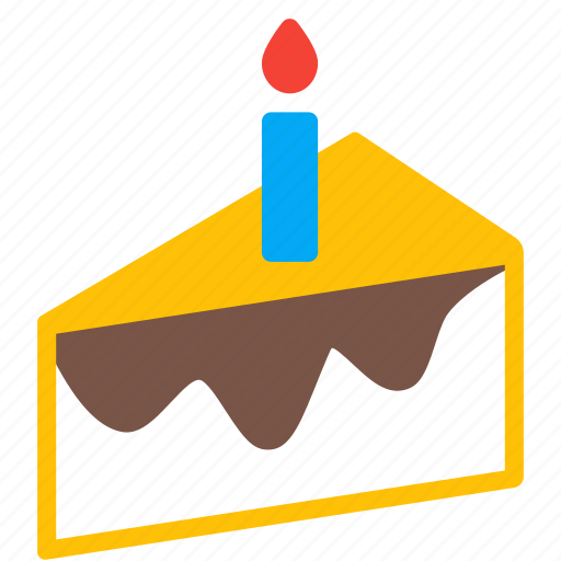 birthday, cake, candle, dessert, food, piece, sweet icon