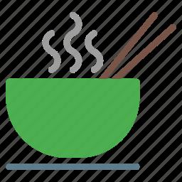 bowl, chopstick, eat, food, hot, noodle, soup icon