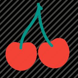 cherries, cherry, food, fruit, plant, tree icon