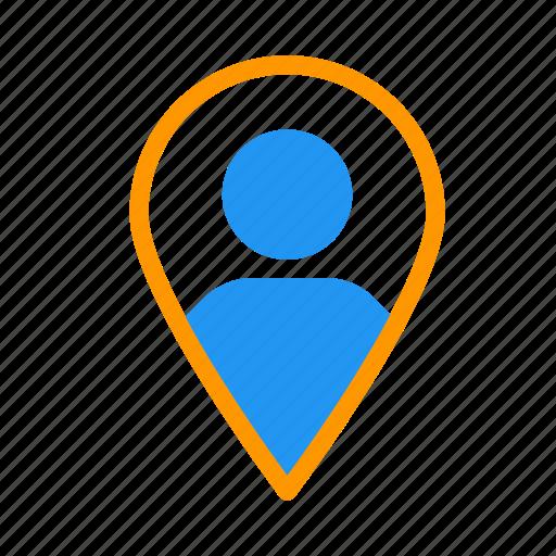 account, friend, location, map, personal, profile icon
