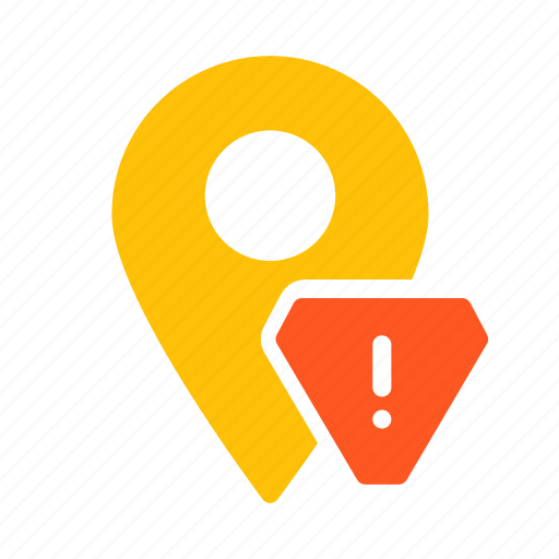 alert, location, map, marker, pin, warning icon