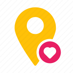 favorite, heart, location, map, marker, pin icon