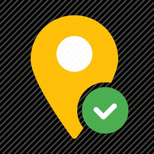 checkmark, location, map, marker, pin icon