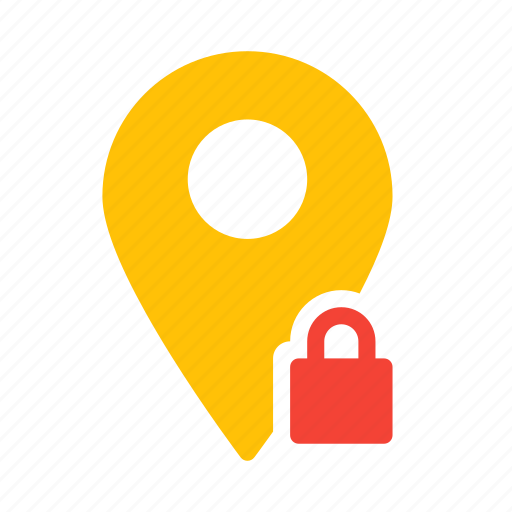 location, lock, map, marker, pin icon