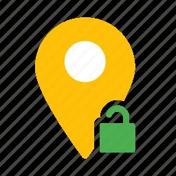 location, map, marker, pin, unlock icon
