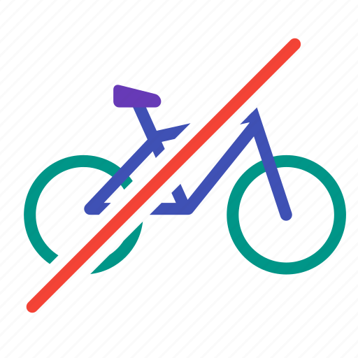 bicycle, bike, no, traffic, transport, vehicle, workout icon