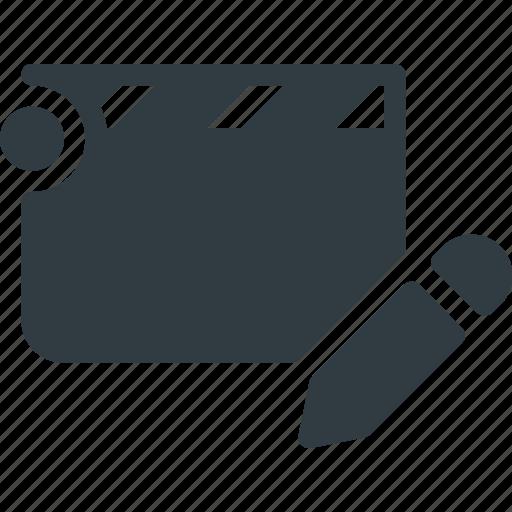 Clapper, edit, cut, clip, movie icon