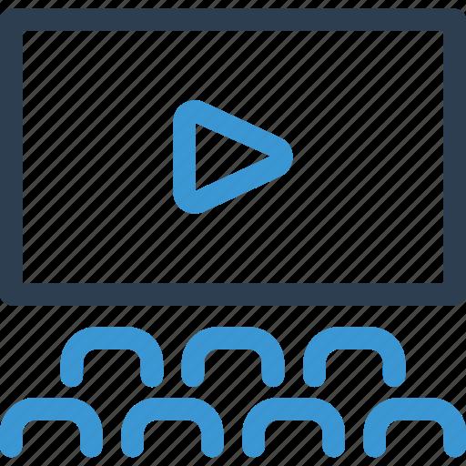 cinema, film, kino, play, video, view, watch icon