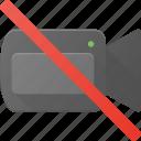 cam, camera, disable, disalow, no, off, record icon