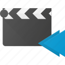 backward, clapper, clip, cut, movie icon
