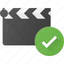 check, clapper, clip, cut, movie icon