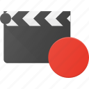 clapper, clip, cut, movie, record icon