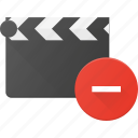 clapper, clip, cut, movie, remove icon