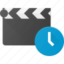 clapper, clip, cut, duration, movie, time, timer icon