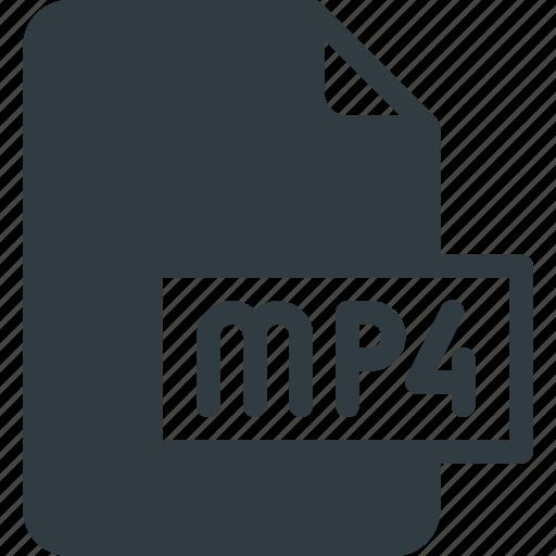 Mp4, document, video, file, film icon
