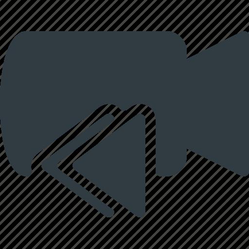 bacward, cam, camera, film, movie, record icon