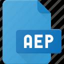 aep, document, file, film, video icon
