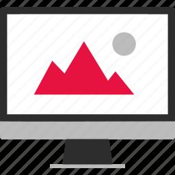 album, monitor, online, photo, website icon