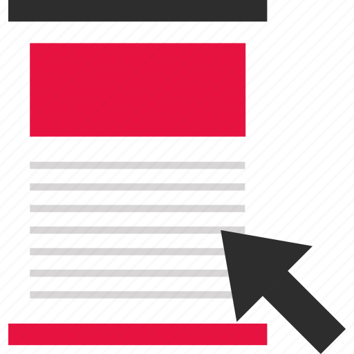 arrow, document, layout, online, page, web, website icon