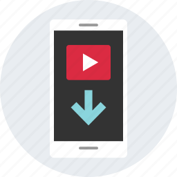 arrow, down, emdia, video, youtube icon