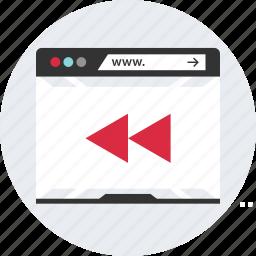 browser, internet, music, rewind, web, www icon