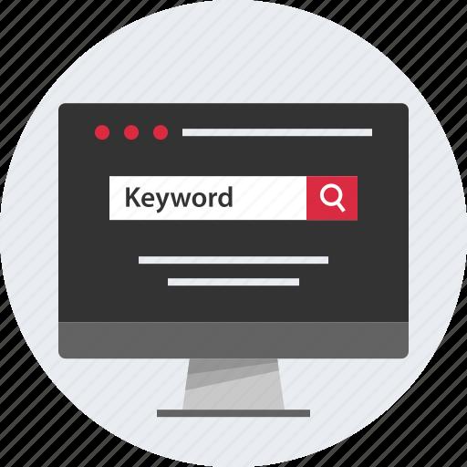 computer, keyword, mac, pc, screen, search icon