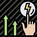 development, level, power, strength, up icon