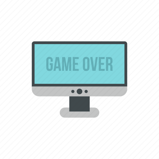 end, game, monitor, over, play, text, word icon