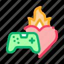 burning, coding, developing, development, game, heart, video