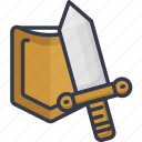 action, game, play, player, shield, sword, weapon
