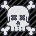 alert, danger, dead, death, skull