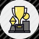 achieve, awards, game, reward, sport, trophies, winner icon