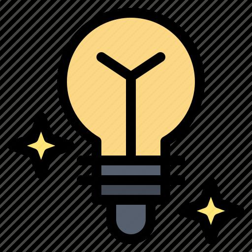 bulb, light, media icon