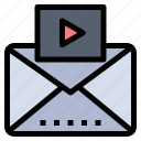 mail, media, message, video icon