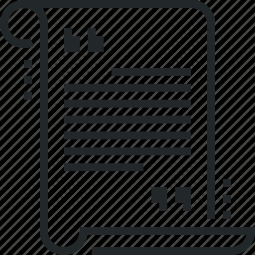 decree, novel, scenario, screenplay, scroll, story, text icon