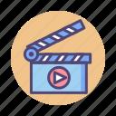 action, action clapper, clapper, film, movie, production icon